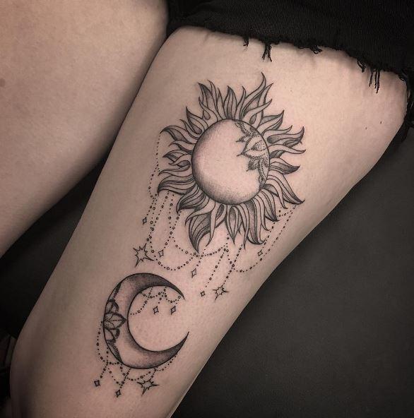 Moon Tattoo On Leg 1