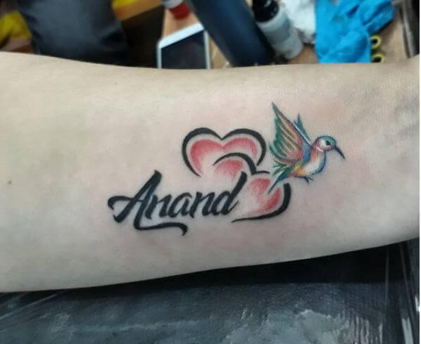 Name And Humming Birds Tattoo Design With Heart