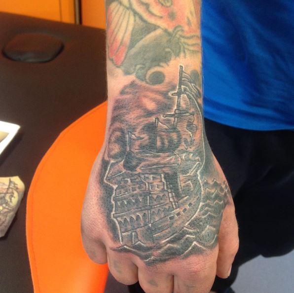 Nautical Tattoo Design On Hands