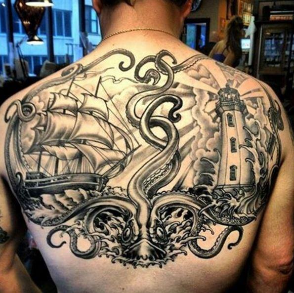 Nautical Tattoos Design Full Back Side