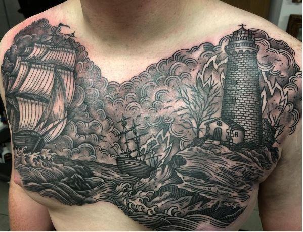 Nautical Tattoos Design On Chest