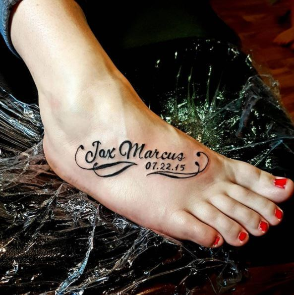 New Born Child Name And Date Tattoo Design On Foot