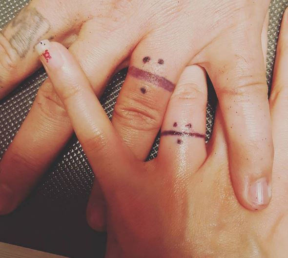 Nice Wedding Ring Tattoos Design