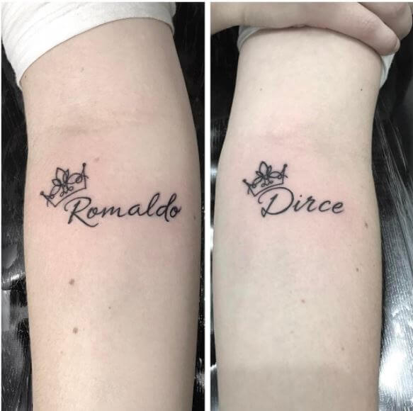 Ronaldo And Dirce Name Tattoo On Forearm