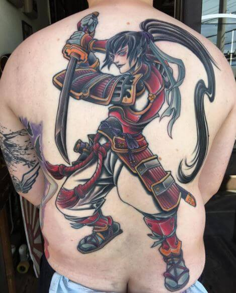Samurai Tattoo On Back 4