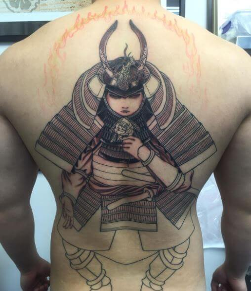 Samurai Tattoo On Back 6