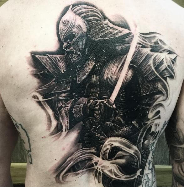 Samurai Tattoo On Back 8