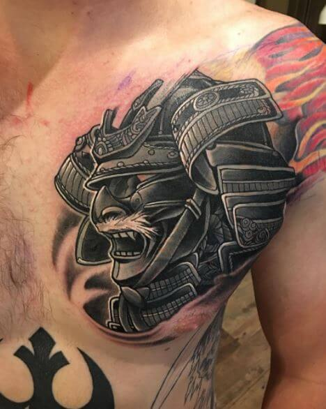 Samurai Tattoo On Chest 1