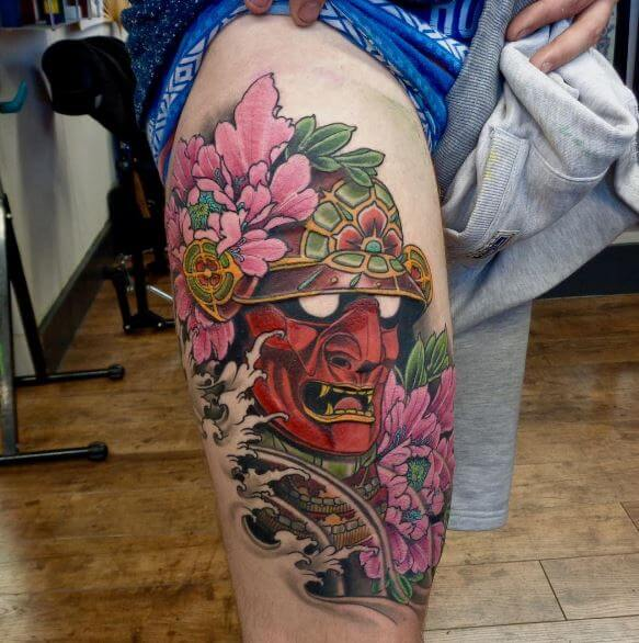 Samurai Tattoo On Leg 2