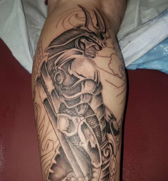 Samurai Tattoo On Leg