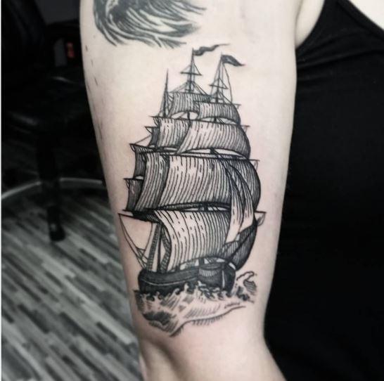Ship Nautical Tattoos Design On Hands