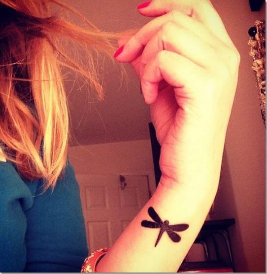 Simple Small Dragonfly Tattoo On Wrist