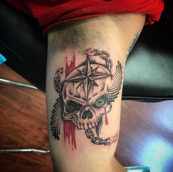 Skull Nautical Tattoos Design For Men