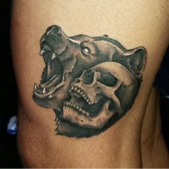 Skull And Bear Tattoos Design For Men