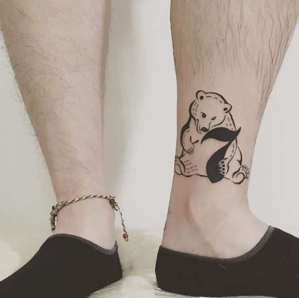 Small Baby Bear Tattoos Design On Legs
