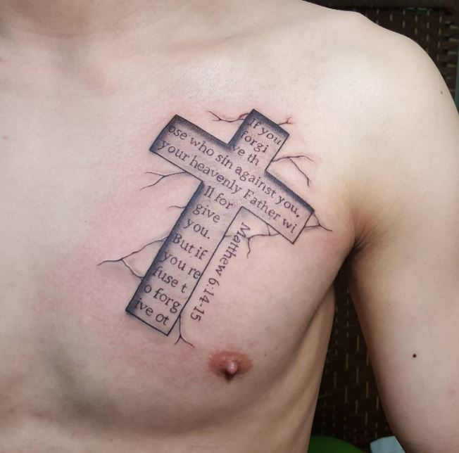 Small Chest Bible Tattoo Design And Ideas