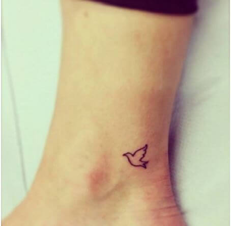 Tiny Dove Tattoos Design On Ankle