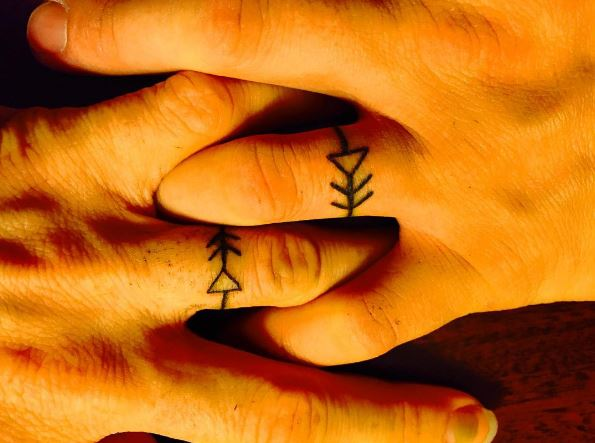 Triangle Wedding Ring Tattoos Design