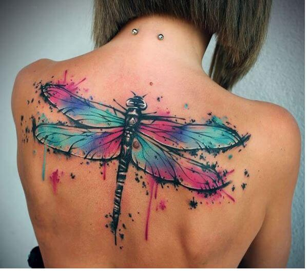 Watercolor Dragonfly Tattoo For Women