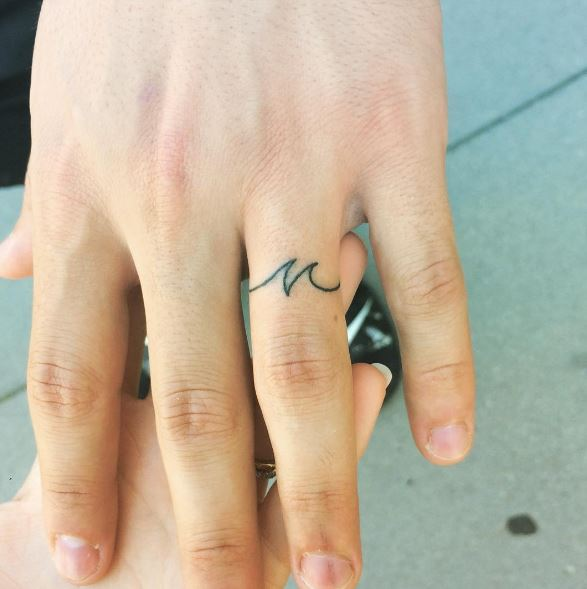 Wave Wedding Ring Fingers Tattoos Design