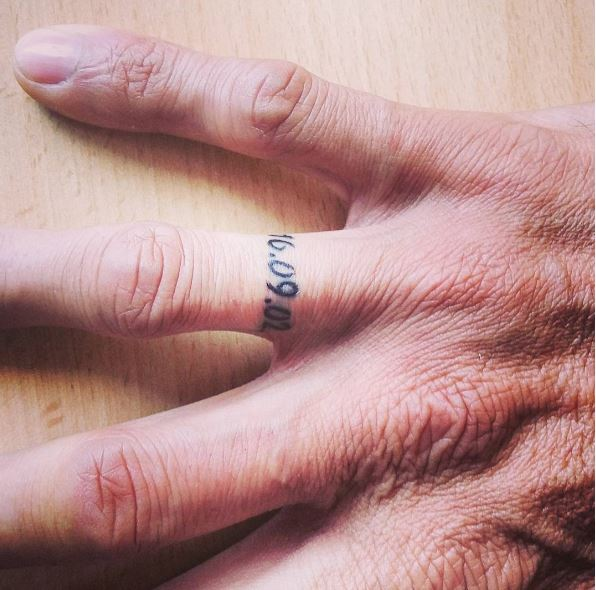 Wedding Date Ring Tattoos Design