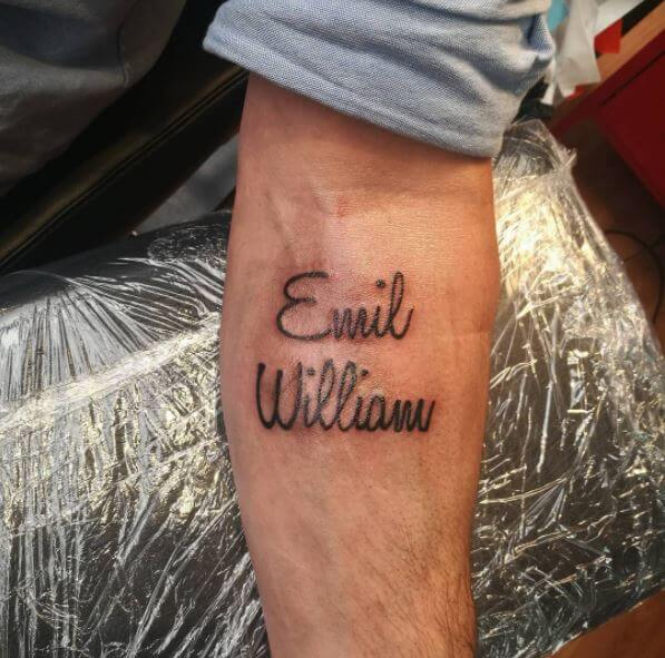 Wife Name Tattoo Design For Men
