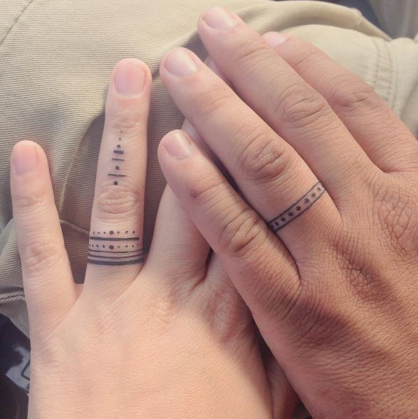Wonderful Wedding Ring Tattoos Design