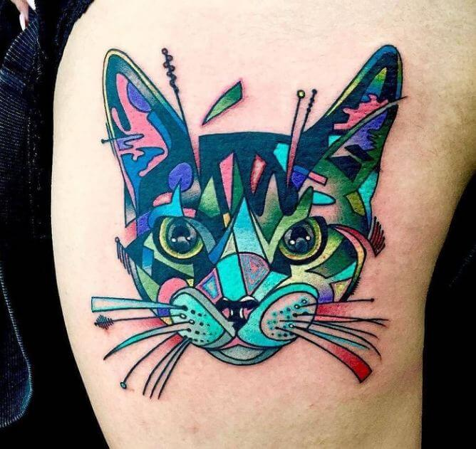 Abstract Cat Tattoos