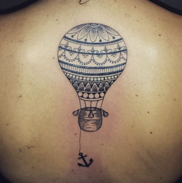 Air Balloon Tattoos On Back For Girls