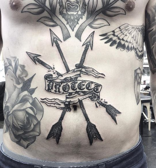 Arrow Tattoos On Stomach