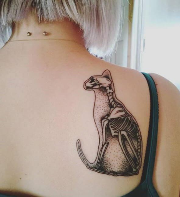 Cat Skeleton Tattoo