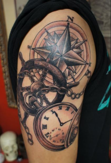 Compass Half Sleeve Tattoos