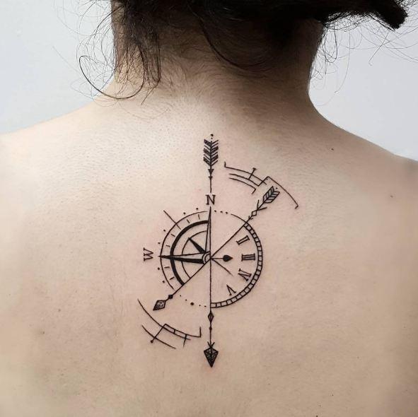 Compass With Arrow Tattoos