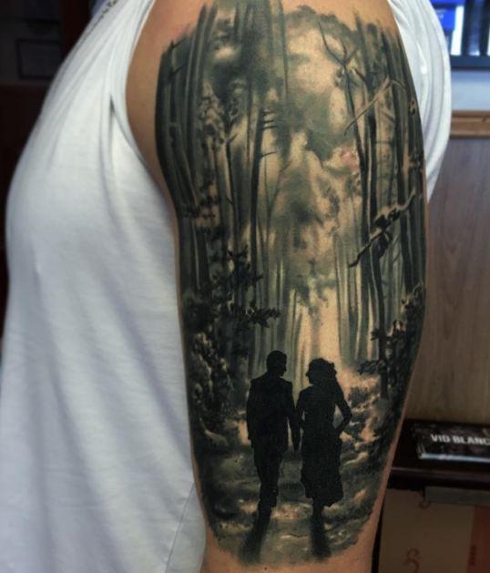 Couple Half Sleeve Tattoos