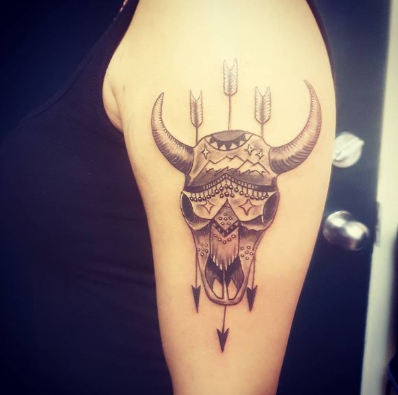 Cow Skull With Arrow Tattoos