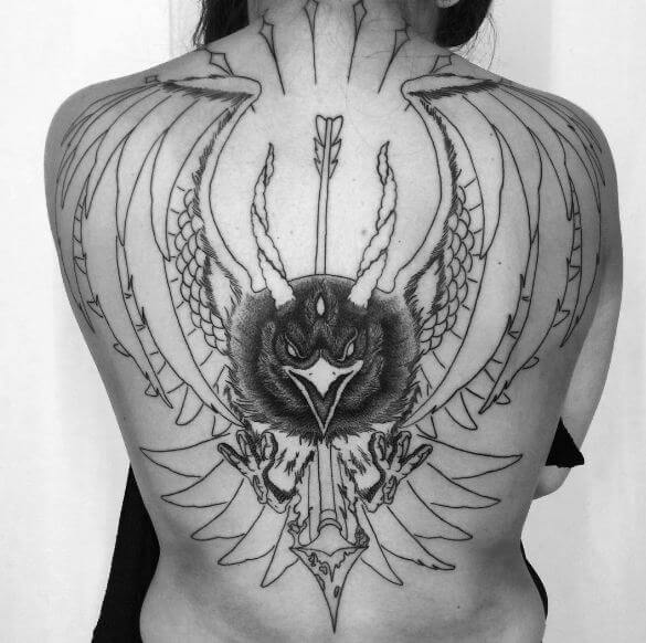 Crow Tattoos On Back