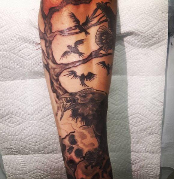 Crow Tattoos On Full Sleeve