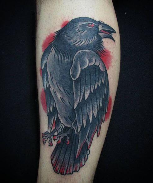 Crow Tattoos On Leg