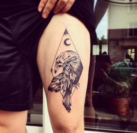 Crow With Moon Tattoos