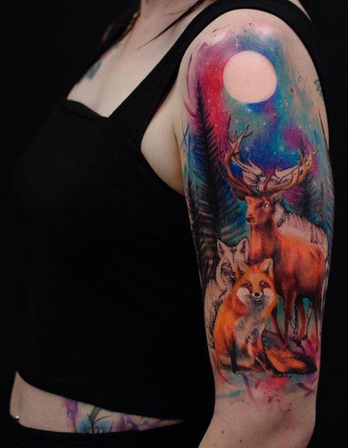Deer And Fox Half Sleeve Tattoos