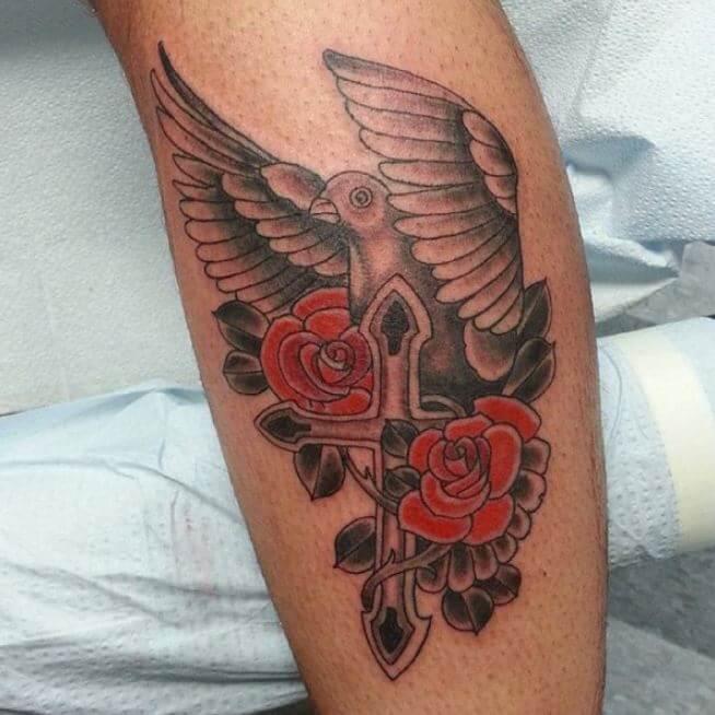 Dove Tattoo On Leg
