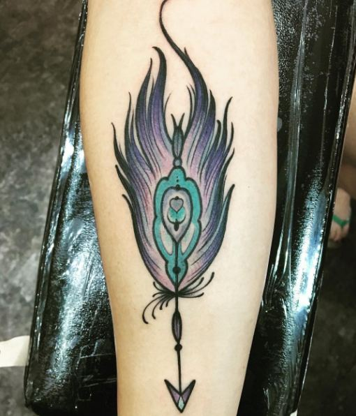 Feather With Arrown Tattoos