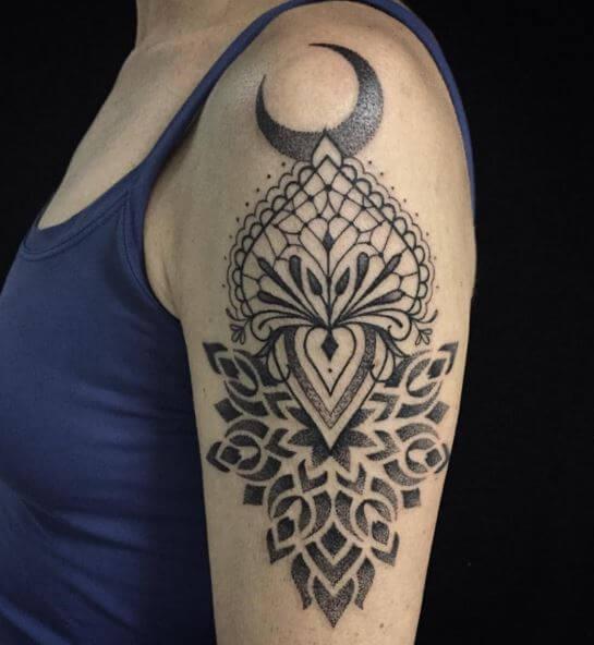 Geometric Moon Tattoo
