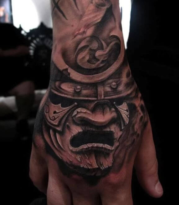 Japanese Samurai Mask Tattoo