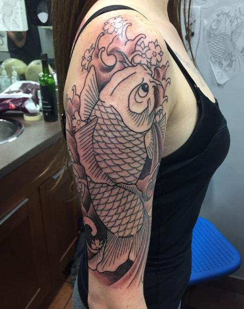 Koi Fish Half Sleeve Tattoos