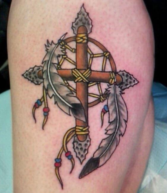Native American Cross Tattoo