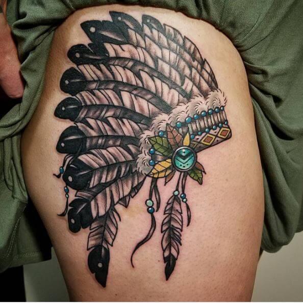 Native American Headdress Tattoo