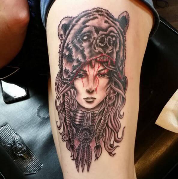Native American Woman Warrior Tattoo