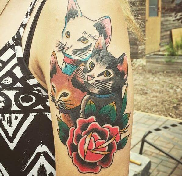 Neo Traditional Cat Tattoo
