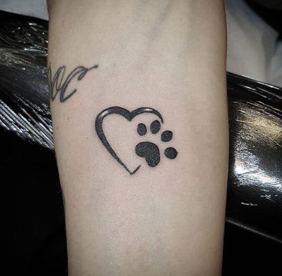 Paw Print Heart Tattoos